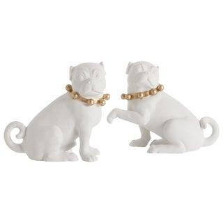 Arteriors Altus Porcelain Pugs, Pair