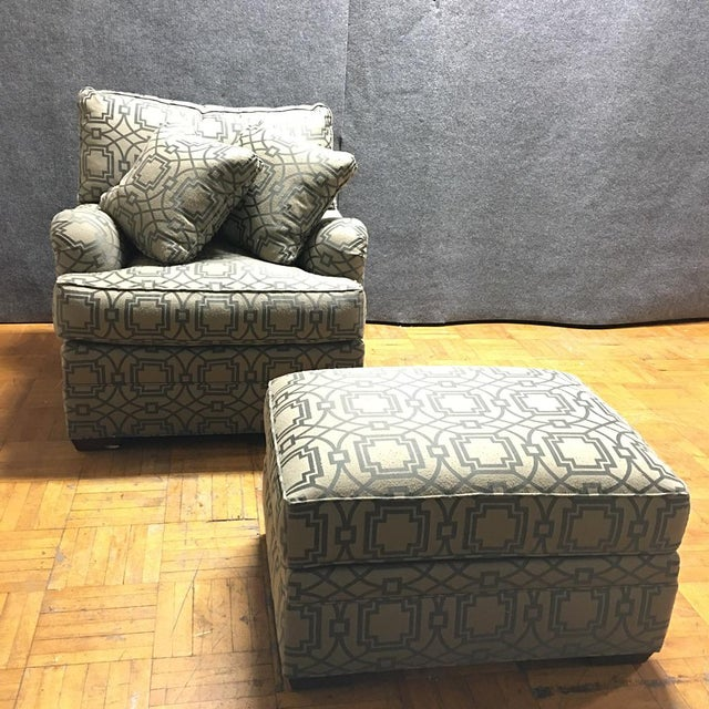 accent armchair w pillows ottoman set of 4 chairish. Black Bedroom Furniture Sets. Home Design Ideas