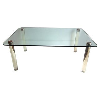 1960s Vintage Lucite & Glass Dining Table