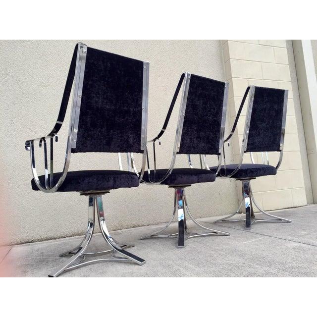 Mid-Century Chrome Swivel Chairs- Set of 6 - Image 6 of 11