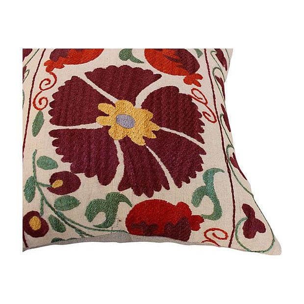Suzani Embroidered Pillows - A Pair - Image 3 of 6