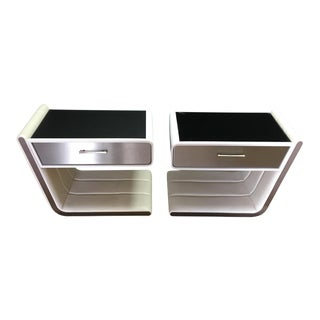 Zina White Retro Nightstands - A Pair