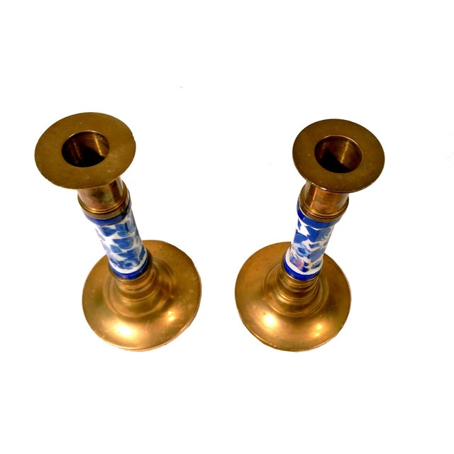 Porcelain Delft & Brass Candlestick Holders - Pair - Image 3 of 6
