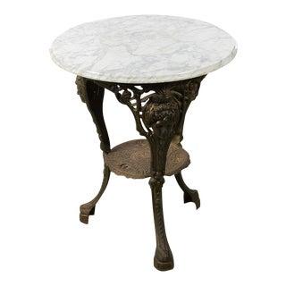 Antique English Cast Iron Pub Bistro Table W /Round Marble Top