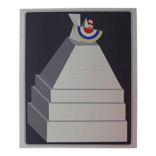 1970s Vintage Pyramide Abstract Serigraph by Lucio De Pezzo