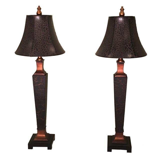 Black Crackle Lamps with Ostrich Shades - A Pair - Image 1 of 2