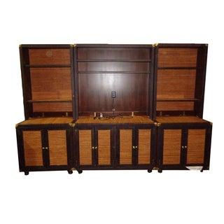 Bauer Leather & Wicker Bookcase Credenza