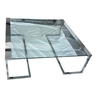 Pace Glass & Chrome Coffee Table