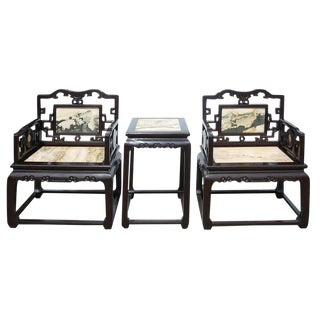 Chinese African Tan Rosewood Marble Stone Chairs and Table - Set of 3