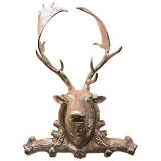 Hollywood Regency Style Silver Metal Antelope Coat Rack