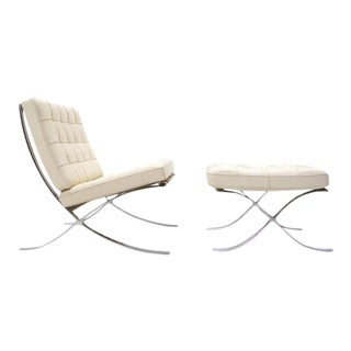 Signed Mies van der Rohe Barcelona Chair and Ottoman for Knoll in White