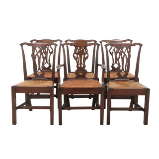 Chippendale Rush Seat Dining Chairs - Set of 6