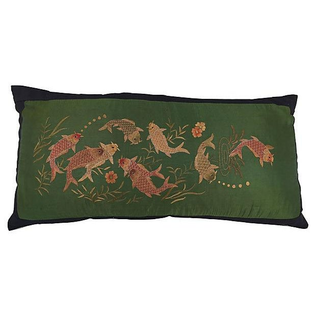Asian embroirered koi fish jade silk pillow chairish for Koi fish pillow
