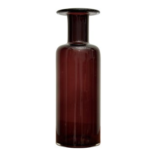 "Large 12 3/4"" Cranberry Glass Vase in the Style of Holmegaard Gulvase"