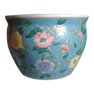 Turquoise With Colorful Flowers Planter