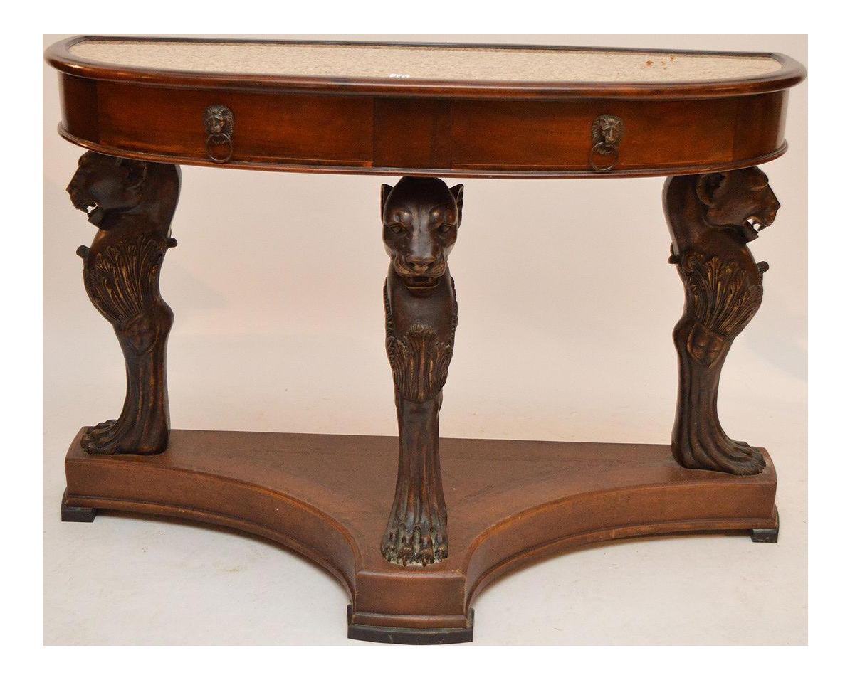 Antique Bronze Leg Mahogany Console Table