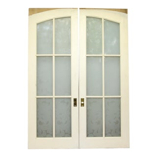 Frosted Glass Pocket Wood Doors - A Pair