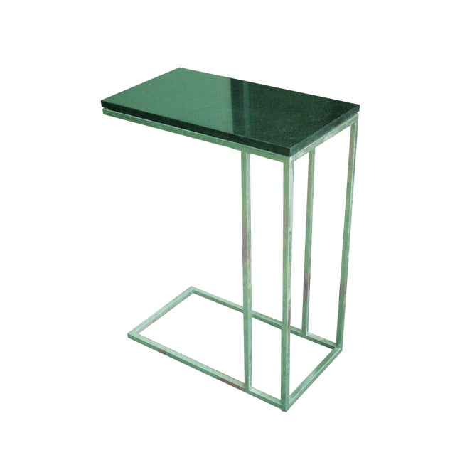 Metal Tray Side End Table With Black Marble Top - Image 1 of 4