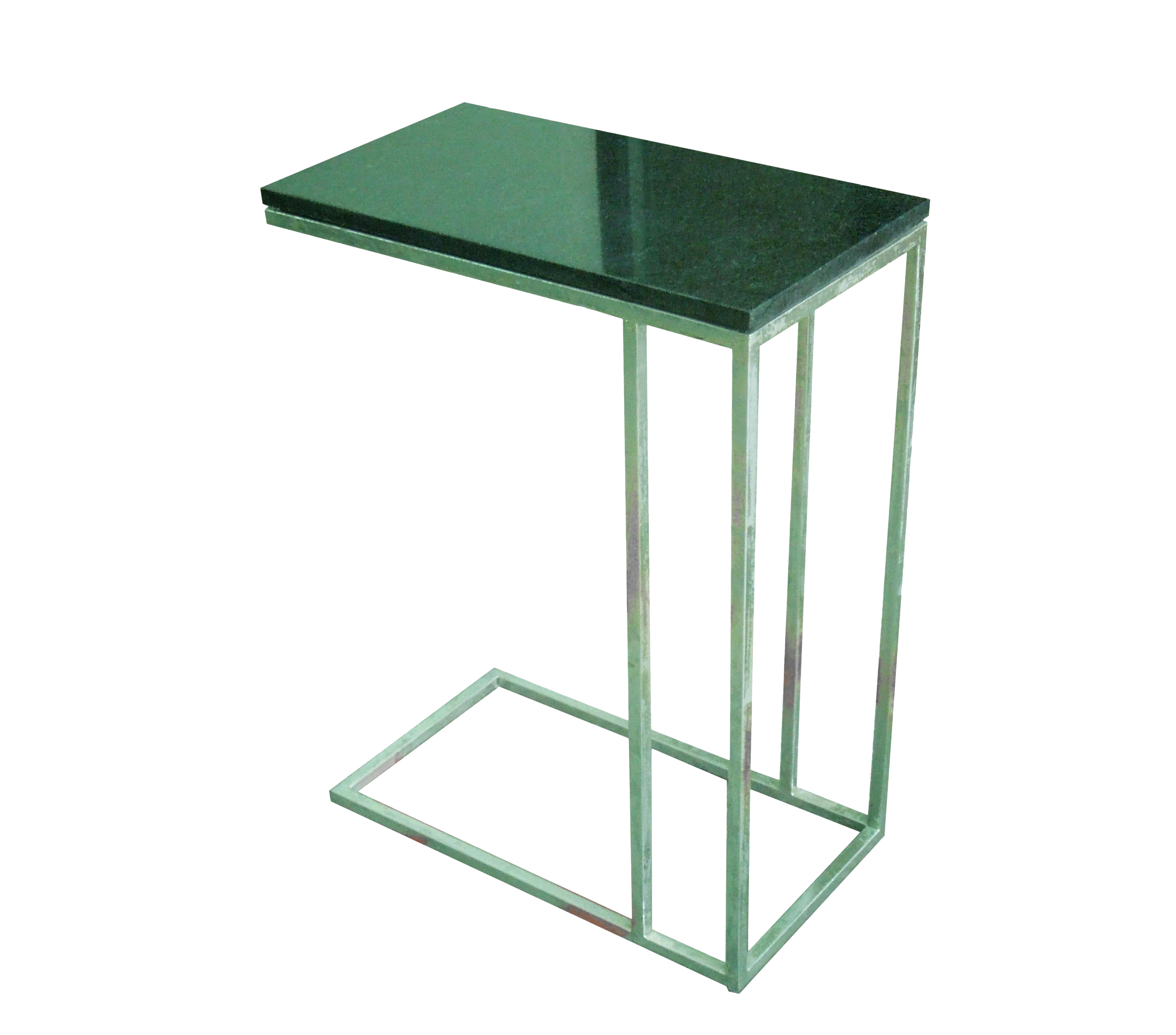 metal tray side end table with black marble top