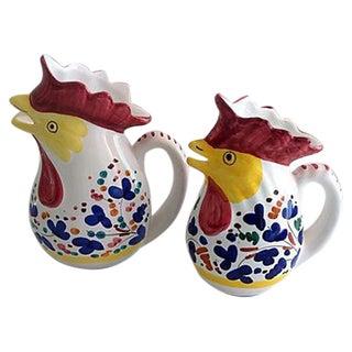 Italian Rooster Deruta Pitchers - Pair