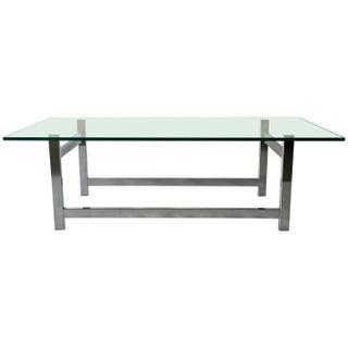 Flat Bar Chrome and Glass Coffee Table