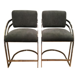Mid-Century Milo Baughman Chrome Bar Stools - Pair