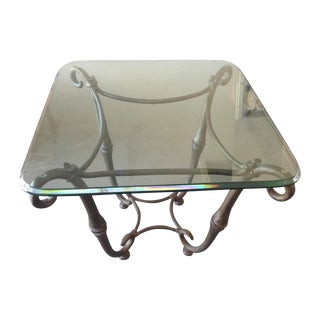 Swaim Glass Top Side Table