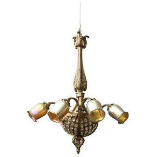 Circa 1880 French Louis XVI Style Gilt Bronze with Faceted Crystals Chandelier