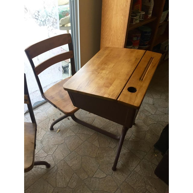 Vintage Home School Desks - Pair - Image 2 of 11