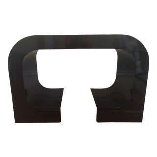 Vintage Lacquered Black Fitted Side Tables - A Pair