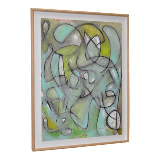 Modernist Abstract Watercolor & Pastel on Paper Painting