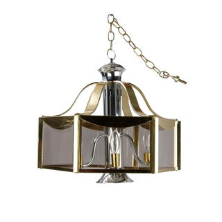 Fredrick Ramond Brass and Chrome Chandelier