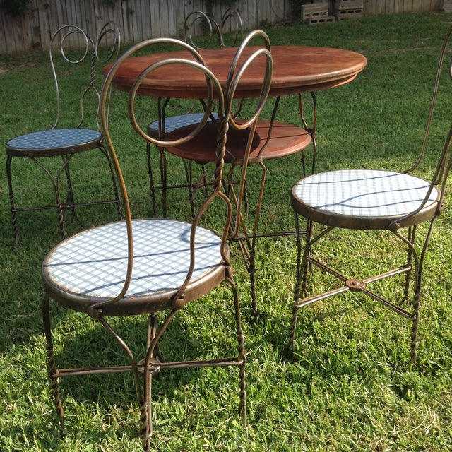 Vintage Ice Cream Parlor Table Set- 5 Pieces - Image 7 of 11