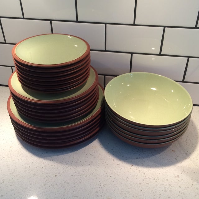 Green and Brown Dinnerware - Set of 6 - Image 2 of 9