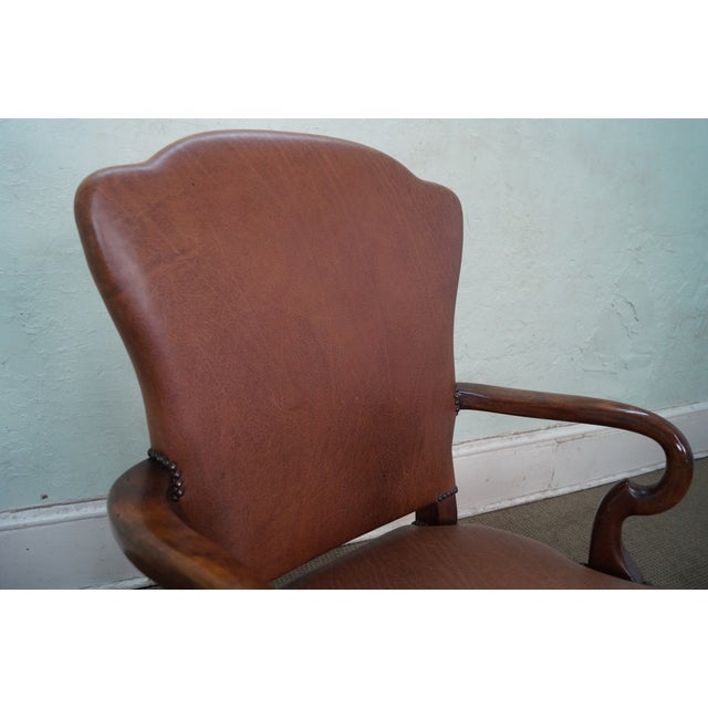 Lillian August 18th Century Leather Arm Chair - Image 7 of 10