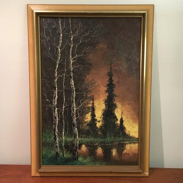Image of Vintage Framed Landscape Painting