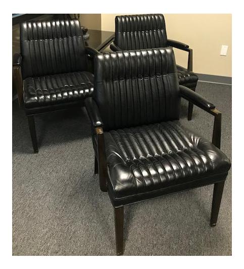 Vintage Mid Century Modern Black Leather Chairs   Set Of 3