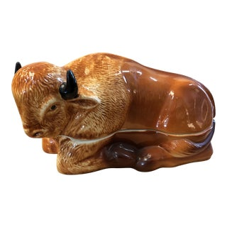 French Majolica Vintage Bison Tureen