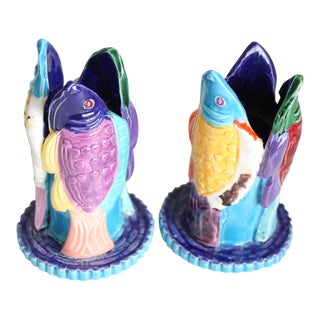 Colorful Fish Candle Holders - A Pair