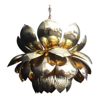 Large Brass Lotus Pendant Light by Feldman