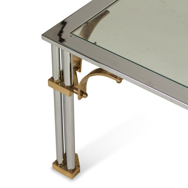 1980s Chrome and Brass Coffee Table - Image 5 of 7