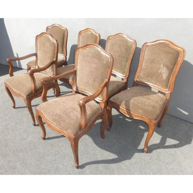 French Henredon Mohair Dining Chairs - Set of 6 - Image 4 of 11