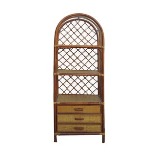 Chinese Bamboo Rattan Round Top Bookcase Cabinet