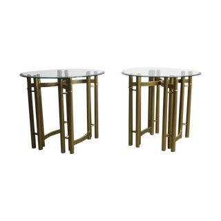 Hollywood Regency Glass Brass End Tables -Set of 2