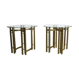 Hollywood Regency Glass Brass End Tables -Set of 2