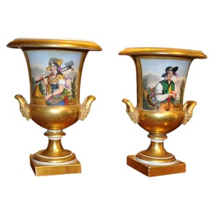 Pair of 19th Century Old Paris Urns
