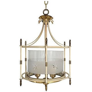 1940s Etched Glass & Brass Lantern