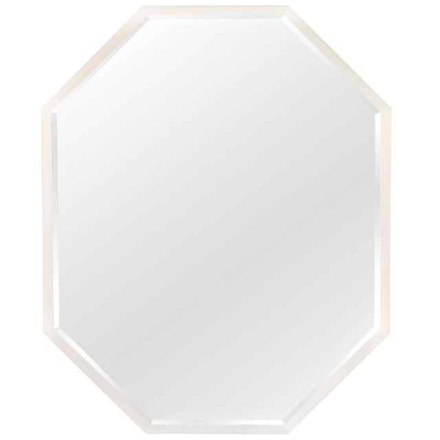 White Lacquered Octagonal Mirror - Image 1 of 4