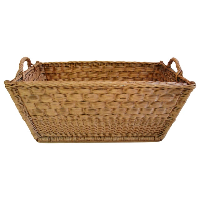 Vintage French Woven Willow Market Basket - Image 1 of 8
