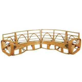 Paul Frankl Six Strand Rattan Six-Seat Corner Sectional Sofa